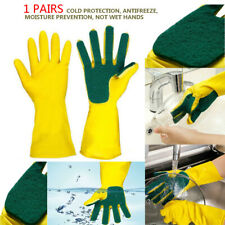 1 Pair Magic Latex Sponge Scrub Dishwashing Gloves Brush Heat Resistant Cleaning