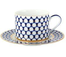 Cobalt Net Solo Teacup and Saucer by Imperial Porcelain Russian Lomonosov LFZ