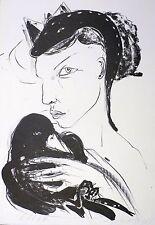 ANGELA HAMPEL - Frau mit Schlange und Raben - Algrafie um 1990