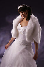 Wedding Faux Fur (Fox) Ivory or White Bridal Wrap Jacket Shrug Bolero Cape A-35L