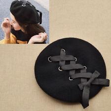 Harajuku Nœud Papillon Béret Chapeau Noir Laçage Casquettes de Ski Charme Femmes