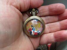 women cat cats art necklace pendant pocket watch bronze  tone vintage