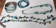 Set Halsketten Armreifen Bijou Brigitte H&M Six Türkis Silber Boho Hippie Perlen