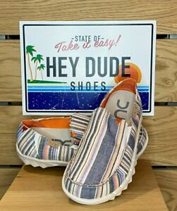 Dude Shoes - Mens - Farty - Chambray Stripes Orange - Cotton