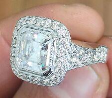 18k White Gold Asscher Cut Diamond Bezel Engagement Ring 3.30ctw H-VS2 EGL USA