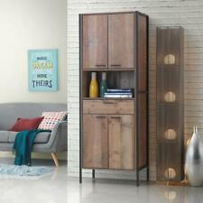 Stretton Tall Storage Kitchen Pantry Sideboard Cabinet Rustic Industrial Oak