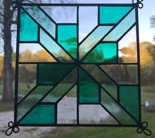 Stained Glass Quilted Square Panel - 6 Inch - Clear/Turquoise/Light Turquoise