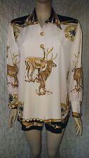 Sandro vintage 100% viscose silky gazelle printed unique shirt size L