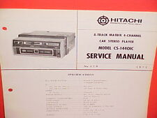 1972 HITACHI 8-TRACK STEREO TAPE PLAYER FACTORY SERVICE MANUAL MODEL CS-1440IC