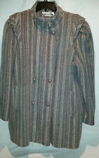 """New York Girl"" Women's WOOL Blend  Long Jacket Gray w/ muted Stripes Large USA"