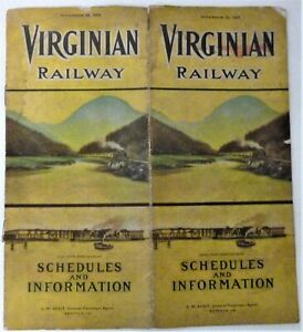 Scarce 1909 Virginian Railway - Schedules and Information - Timetable