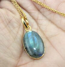 H7080 Natural Rainbow Labradorite 24k Gold Plated Pendant Chain Necklace Jewelry