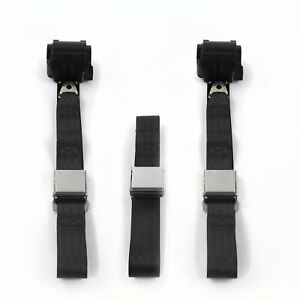 Chevy Impala 1958 Airplane 2pt Black Retractable Bench Seat Belt Kit - 3 Belts