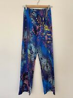 Hale Bob Dress Pants White Blue Black Pink Long Summer Floral  Patterned XS Gold