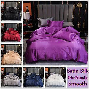 Satin Silk Solid Color Quilt Cover/Fitted Sheet 3Pcs All Size Smooth Bedding set