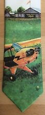 Vintage Tie Rack Picture Tie J-3 Piper Cub Aircraft Aviation 1980s Ralph Marlin