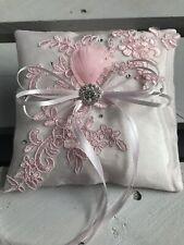 Dusky Pink Wedding Engagement Ring Cushion Bearer Pillow Floral Lace Diamanté