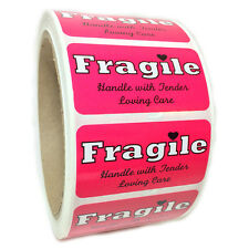 """Pink """"Fragile Handle with Tender Loving Care"""" Labels Stickers  1"""" by 2"""" - 500 ct"""
