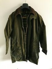 Mens Vintage Barbour Border wax jacket Green coat 36in size Small / Medium S/M