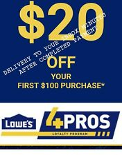 4X LOWES FOR PROS 20 off 100Coupons  ONLINE @LOWES4PROS IN-STORE EXP 3/04 inbox