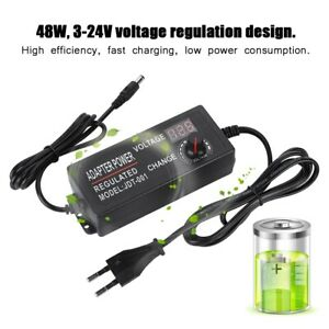 DC 24W 3-12V 2A Power Supply Adapter Charger Light With LED Digital Display SPM