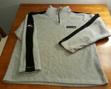Tommy Hilfiger Athletic GEAR Mens Fleece Jacket 1/4 Zip Down XL Gray Black Strip