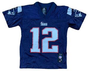 Tom Brady #12 New England Patriots Reebok Blue Football Jersey Youth Small 8 NFL
