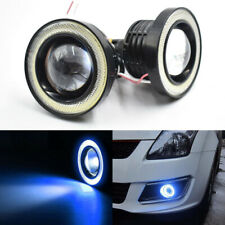 "2x 3.5"" 89mm Universal LED Fog Light Blue COB Halo Angel Eye Ring Car DRL Lamp"