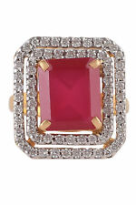 8.02 Cts Round Brilliant Cut Diamonds Ruby Cocktail Ring In Fine 14K Yellow Gold