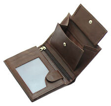 Mens RFID Blocking Soft Leather Wallet, ID Window, Zip And Coin Pocket 503 Brown