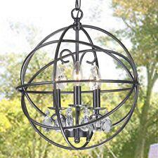 Modern Globe Lighting Chandelier Crystal Hanging Fixture Orb Vintage Round Light