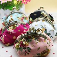 Women Small Wallet Bags Retro Flower Coin Change Purse Canvas Hasp Clutch Wallet