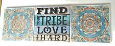 Canvas Print wall hanging set 3 LOVE YOUR TRIBE Art Home decor Pictures