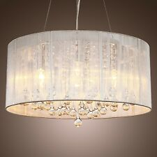 New Drum Shade Crystal Ceiling Chandelier Pendant Light Fixture Lighting Lamp 98