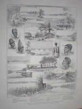 The Emin Pasha relief expedition up the Congo 1888 old prints