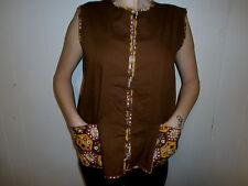 vtg House Smock Shirt Womens Brown Vest 70's Zip Pockets Handmade Homemade