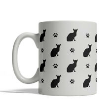 Abyssinian Cat Silhouettes Coffee Mug, Tea Cup 11 oz ceramic silhouette paws