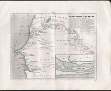 1841 ANTIQUE MAP MONIN FRANCE H/COL - COLONIES, AFRICA  SENEGAMBIE OU SENEGAL
