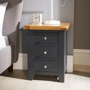 Modern Blue Solid Wood Bedside Lamp End Side Table 3 Drawers Bedroom Furniture