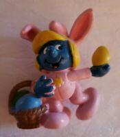 Vintage Smurfette Easter Bunny Figure Figurine 1982 Schleich PVC Smurf Toy  52c2