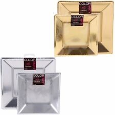 GOLD / SILVER PARTY PLATES Square Plastic Wedding Tableware Event Table Catering