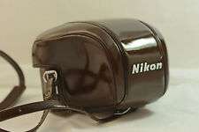 VINTAGE NIKON F BROWN LEATHER CAMERA CASE WITH STRAP AND PAD