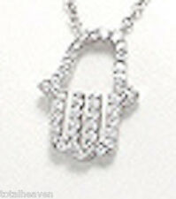 "16""-17.5"" Solid Sterling Silver AAA CZ Chamsa Necklace Protect Against Evil Eye!"