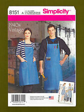 Simplicity Sewing Pattern 8151~Retro 40's Work Apron~Men/Women/Child~ALL SIZES