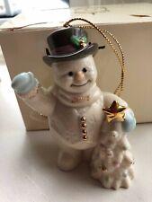 2002 Lenox Annual Waving Snowman Gold Trimmed Christmas Tree Ornament W/ Box