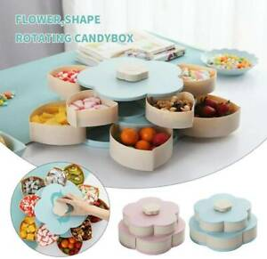 Bloom Snack Box Pattern Rotating Double Fruit Bowl Double Candy DE