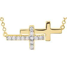 Diamante Doble LATERAL CRUZ 45.7cm Collar en 14k ORO AMARILLO (1/5 CT. TW