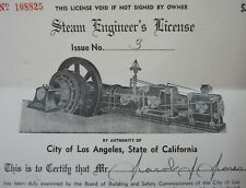 Steam Engine and Boiler Engineer's License Certification Los Angeles Ca 1949