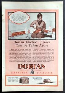 1928 Dorfan Electric Trains *Can Be Taken Apart* vintage print AD