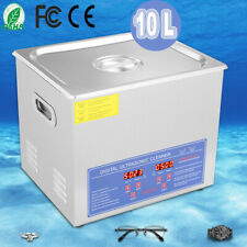 Stainless Steel 10L Liter Industrial Ultrasonic Cleaner Heater Machine w/Timer